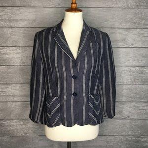 CAbi 100% Linen Nautical Striped Blazer #871 Sz 6